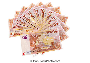 50 Euro banknotes in circular pattern over white background.