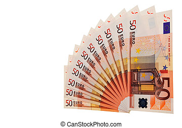 50 Euro banknotes in pattern over white background.