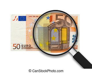 50 Euro Bill with magnifying glass on white background.