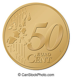 50 euro cent isolated on a white background. Vector...