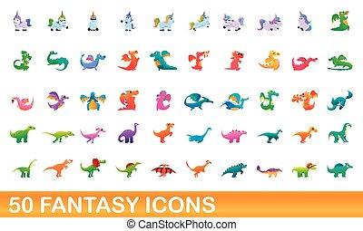 50 fantasy icons set, cartoon style