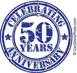 50, festeggiare, anni, anniversario, gr