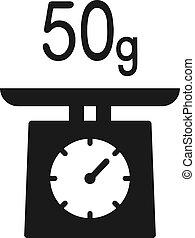 50 g kitchen weight symbol