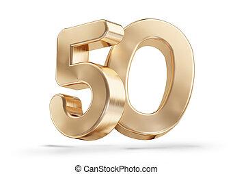 50 golden 3d-illustration isolated on white