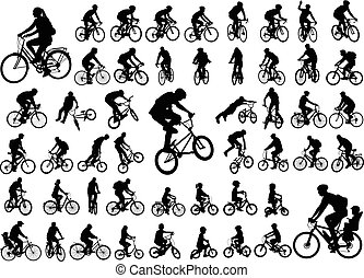 50, hoog, kwaliteit, bicyclists, silhouettes, verzameling