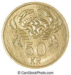 50 icelandic krona coin isolated on white background