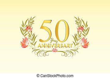 50, jahre, jubiläum, gold, aquarell, kranz, vektor