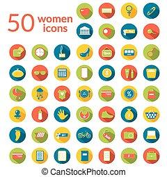 50, kobieta, ikony, komplet
