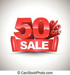 50%, korting, vector, glanzend, rood, 3d
