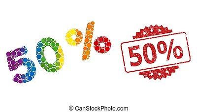 50, mosaico, 50%, sello, lgbt, angustia, percents