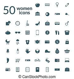 50, mulher, ícones, jogo