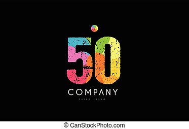 50 number grunge color rainbow numeral digit logo