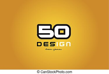 50 number numeral digit white on yellow background