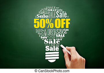 50% OFF sale bulb word cloud collage