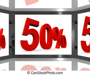 50% On Screen Showing Discount On Televisions And Price Reductions