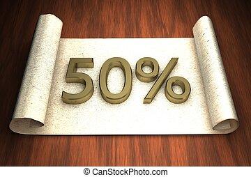 50 per cent, golden numbers, over open paper, 3d rendering