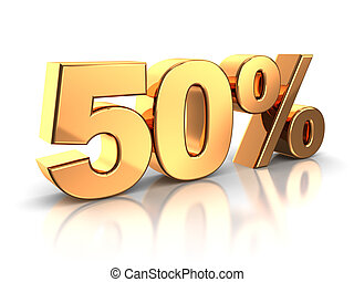 50 percent - 3d of golden 50 percent isolated on a white...