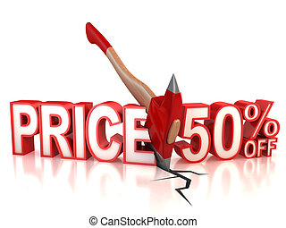 50 percent discount 3d concept