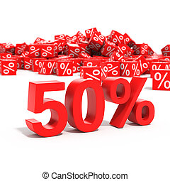 50 percent discount in focus isolated on white background