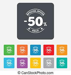 50 percent discount sign icon. Sale symbol.