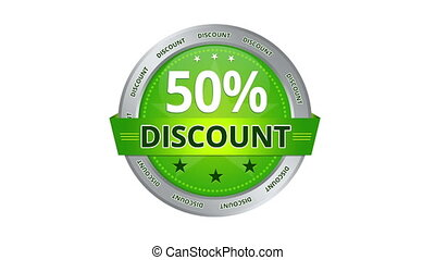 50 percent Discount - Green Animated 50 percent discount...