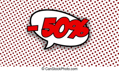 50 percent discount text in speech balloon