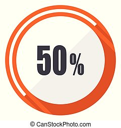 50 percent flat design vector web icon. Round orange internet button isolated on white background.