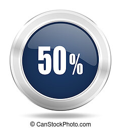 50 percent icon, dark blue round metallic internet button, web and mobile app illustration