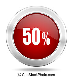 50 percent icon, red round glossy metallic button, web and mobile app design illustration