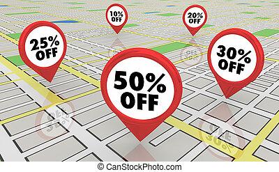 50 Percent Off Sale Discount Map Pins 3d Illustration
