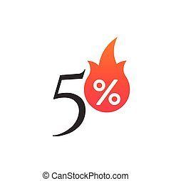 50 percent off with the flame, burning sticker, label or icon. Hot Sale flame and percent sign label, sticker. special offer, big sale, discount percent off. Vector illustration isolated on white background