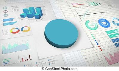 50 percent Pie chart with various economic finances graph.