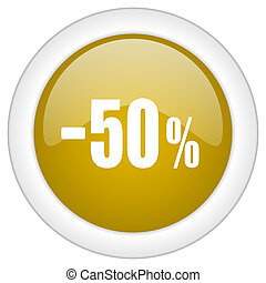 50 percent sale retail icon, golden round glossy button, web and mobile app design illustration