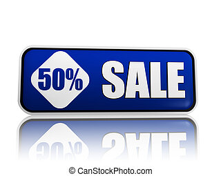 50 percentage off sale blue banner