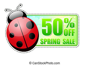 50 percentages off spring sale green label with ladybird