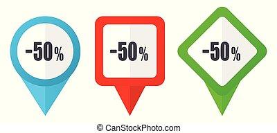 50, percento, vendita, vendita dettaglio, segno, rosso, blu verde, vettore, puntatori, icons., set, di, colorito, posizione, marcatori, isolato, bianco, fondo, facile, a, redigere