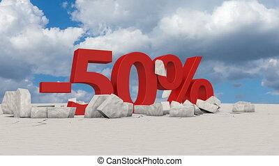 50 percents on broken ice - The voluminous figure 50...