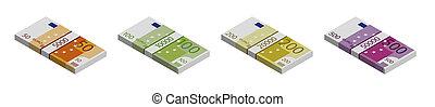 50., piles, 100, vue, blanc, 200, euro billets banque, isométrique, fond, 500