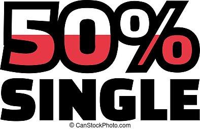 50, porcentaje, solo