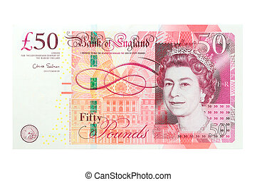 50 pound sterling bank notes closeup view business...