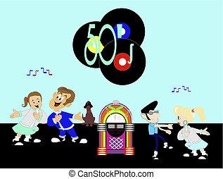 50-s Rockin to the juke box - Group of people rockin to the...