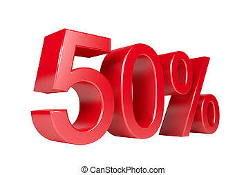 50% Sale Discount. Isolated On White Background