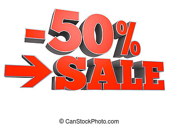 50% sale discount text