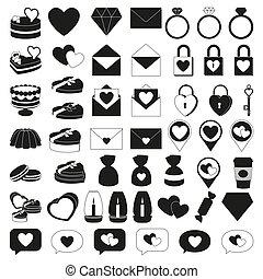 50, schwarz weiß, valentine, elemente