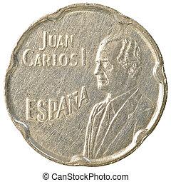 50 spanish pesetas coin isolated on white background