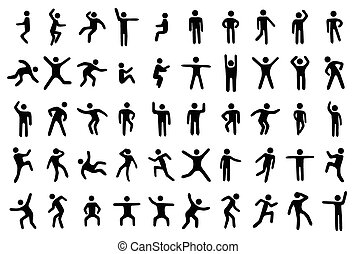 50 stick figure set, person in different sport poses on white background