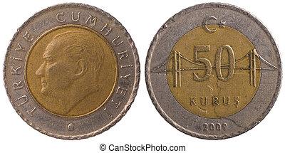 50 Turkish kurus coin, 2009, both