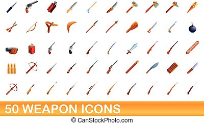50 weapon icons set, cartoon style