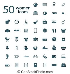 50 woman icons set