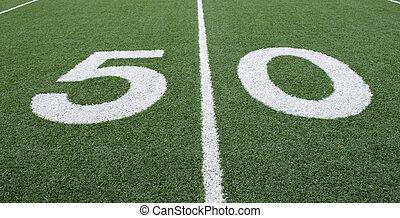 50 Yard Line - American football field 50 yard line. Copy...
